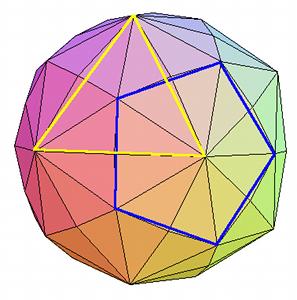 L'hexaki-icosaèdre, polyèdre régulier composé de 120 triangles, 62 sommets et 180 arêtes Merci à Robert Ferréol