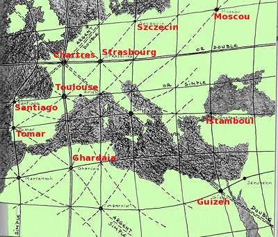 Réseau de l'or et de l'argent en Europe et en Afrique du Nord Merci à G. Prat (© Précis cartésien de géobiologie)