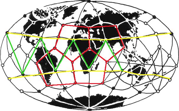 Le réseau de triangles et pentagones de Goncharov, Kamarov, et Morozov. D'après David Hatcher Childress